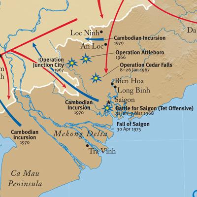 International Mapping Vietnam War 30 x 40 inches