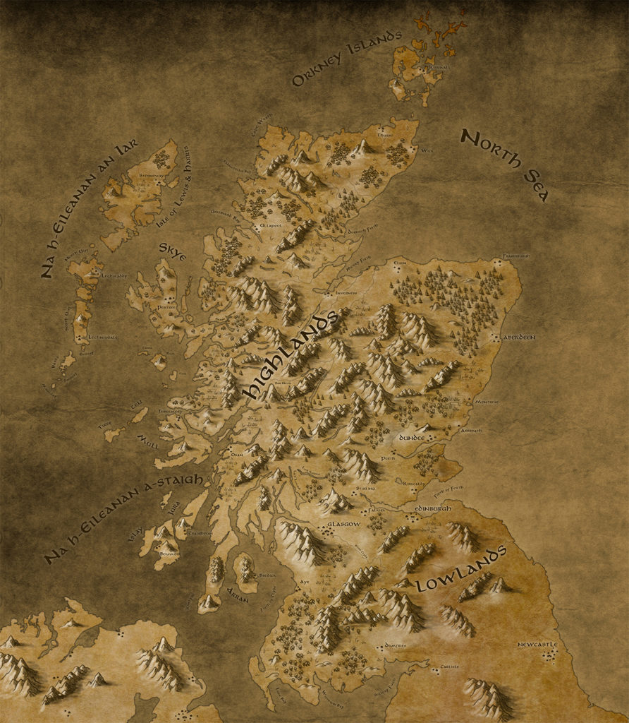 A map of Scotland illustrated to match the style of the Lord of the Rings maps (sepia tones, textured mountains, little tree illustrations).