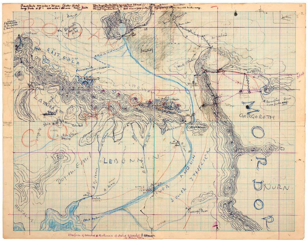 An original Tolkien sketch of Middle-earth on graph paper with detailed contours and rivers and a variety of notes in different colors.